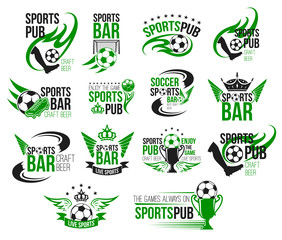 Football sport pub icon of soccer ball and trophy