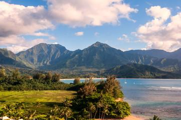 Hanalei Bay on west coast of Kauai Island, Hawaii