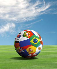 Soccer ball with flags in a green field