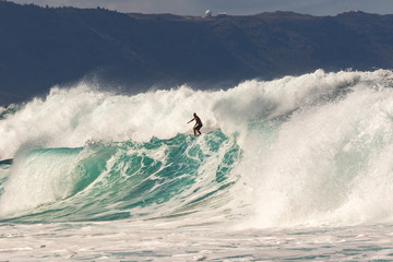 Surfing the Banzai Pipeline, North Shore of Oahu, Hawaii
