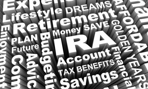 IRA Individual Retirement Account Savings Plan Word Collage 3d Illustration
