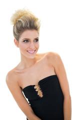 Smiling cute blonde model posing for camera
