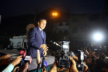 Peru's former president Ollanta Humala talks to the press after leaving jail outside the Barbadillo prison, in Lima