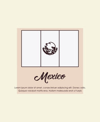 mexico design with Mexican flag icon over white background, colorful line design. vector illustration