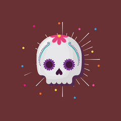 Sugar skull icon with colorful dots around over brown background, colorful design. vector illustration