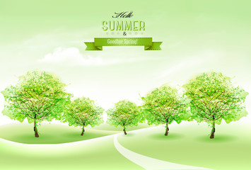 Summer nature background with green trees and landscape. Vector.