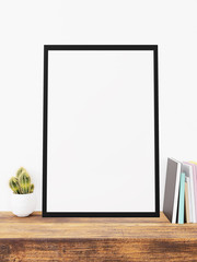 Modern home decor with blank painting frames mock up design