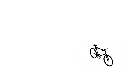Black bike bicycle on white background for design. 3D rendering 3d