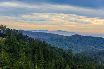Fog rolling in around Mount Tamalpais north of San Francisco California