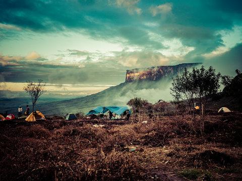 Sunrise at the base camp of Monte Roraima, Venezuela.