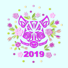Boar or Pig Head isolated on background with flowers. Pig or Boar head as logo, badge, icon. Template for party invitation, greeting card, pet shop, web. Symbol of Chinese New Year 2019.