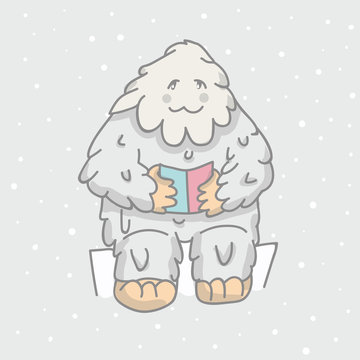 cute, white Bigfoot read book. children s illustration, character, For T-shirts, postcards.