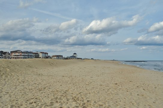 View of the beach in Belmar, New Jersey, along the long Jersey Shore beach on the Atlantic Ocean