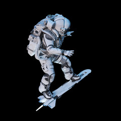Spaceman on flying board. Mixed media