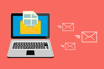 Email marketing, internet advertising concepts. Laptop with envelope and read email on screen.