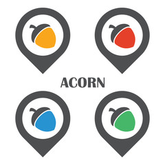 acorn logo icon set in flat color design template