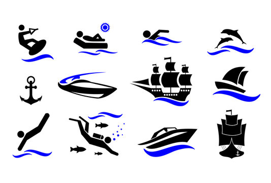 Sport. Water sports. Active holiday by the sea. The icons set. Vector illustration isolated on white background.