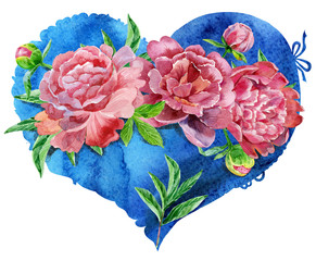 watercolor blue heart with red peonies