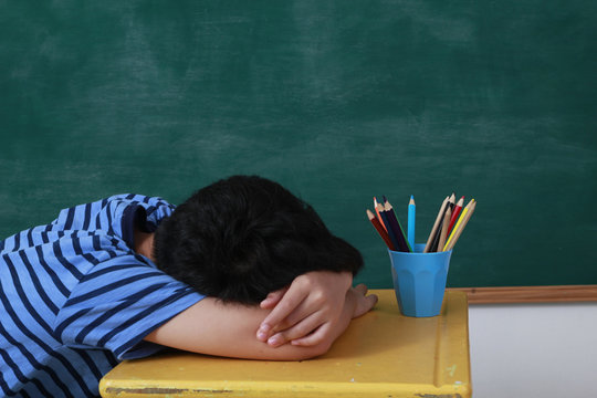 child student sleep in room