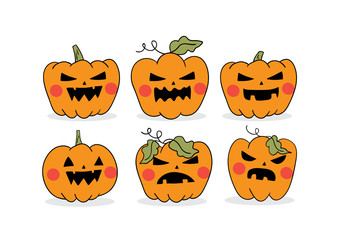 Vector illustration design set character pumpkin for decorate in Halloween day different emotion Draw doodle cartoon style