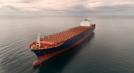 Container ship standing on the roads at anchor.