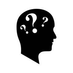 Head with three question marks. vector icon
