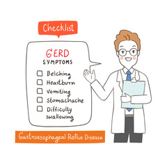 Vector illustration character design doctor explain about Gastroesophageal Reflux Disease ,health care Draw doodle cartoon style