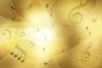 音符と金色のぼやけた背景
