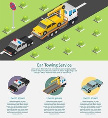Isometric low poly Tow truck city road assistance service evacuator of Online car help design vector background illustration set infographic