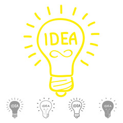 Lamp, indicating an idea. Template for Innovation logo in sketch style. Vector
