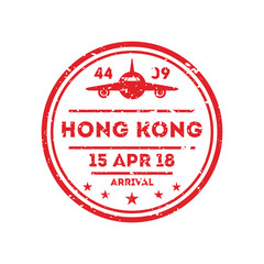 Hong Kong city visa stamp on passport. International immigration sign, airport travel symbol vector illustration.