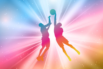 Basketball Players Silhouettes, Colorful, Rainbow