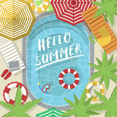 Hello summer banner with water pool. Summer time concept, family beach vacation vector illustration. Top view on water pool, beach umbrella, palm tree, sun lounger, flip flops and inflatable rings.