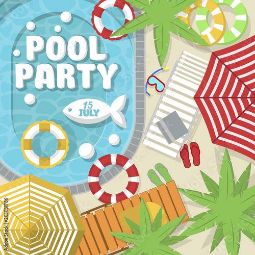 Summer Pool Party Invitation Layout Top View On Water Pool Beach