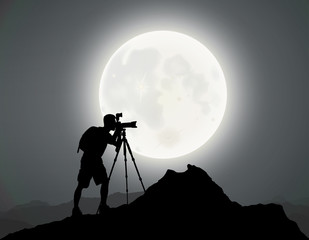 Silhouette of A Photographer, Mountain Top, Moonlight