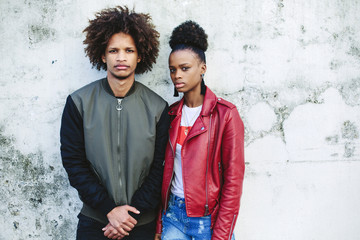 Young black teen couple. Dark skin, mixed race, voluminous african hair