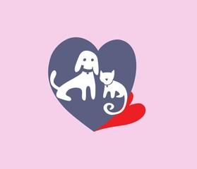 Pet Love Logo, art vector design