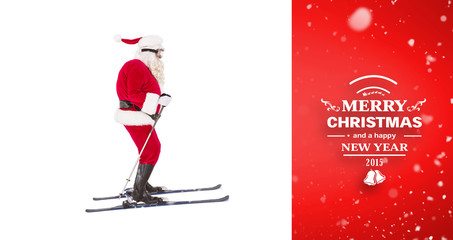 Festive father christmas skiing  against red vignette