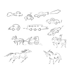 Different sketches of cars and horses on white background. Abstract drawing machines in a variety of shapes.