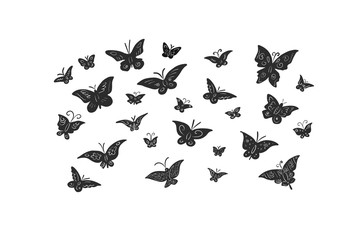 Butterflies black silhouettes on white background. Patterned insects isolated.