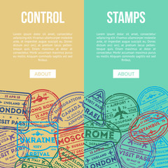Travel agency flyers with visa stamps on passport. Barcelona, France, Moscow, Hong Kong, Canada, USA, Istanbul, Rome, Ukraine, London immigration ink signs, airport travel symbols vector illustration.