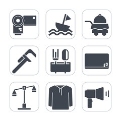 Premium fill icons set on white background . Such as camera, nautical, hotel, photographer, repair, sailboat, photography, food, picture, service, bedroom, blackboard, equipment, law, education, blank