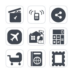 Premium fill icons set on white background . Such as communication, social, technology, finance, media, border, bear, picture, connection, spray, aircraft, support, tourism, telephone, share, child