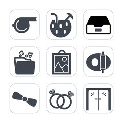 Premium fill icons set on white background . Such as storage, diamond, tool, romance, juice, architecture, document, cocktail, referee, object, whistle, party, white, ice, file, alcohol, game, glass
