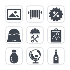 Premium fill icons set on white background . Such as red, map, drink, sign, sale, frame, blank, background, boiler, art, percent, retro, bulb, hat, hot, alcohol, builder, idea, old, globe, helmet, cap
