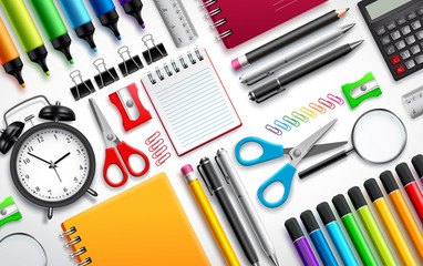 School and office supplies vector set background with colorful school items and stationery collection in white background. Vector illustration.
