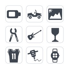Premium fill icons set on white background . Such as musical, image, basketball, picture, machine, sign, service, repair, sport, blank, automobile, battery, photo, charger, shirt, drill, tool, power
