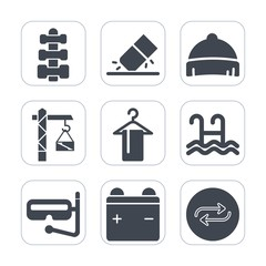 Premium fill icons set on white background . Such as saw, pool, equipment, white, construction, rubber, health, sport, battery, hat, eraser, replace, drill, change, fitness, hammer, office, hanger