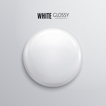Blank white glossy badge or button. 3d render.