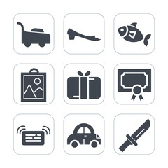 Premium fill icons set on white background . Such as gardening, vehicle, lawn, frame, achievement, silhouette, cutlery, gift, dinner, mower, equipment, image, transport, certificate, fish, diploma